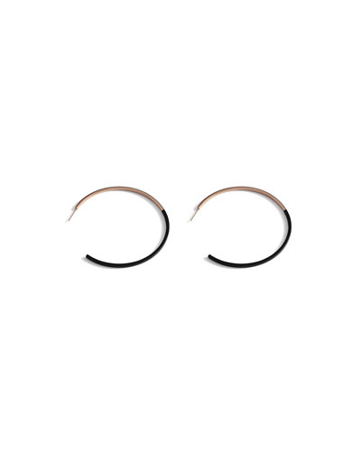 Two-Tone Hoop Earrings, Black/Rose Gold