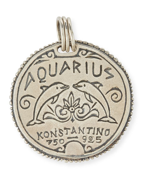 Aquarius Carved Zodiac Pendant with Diamond
