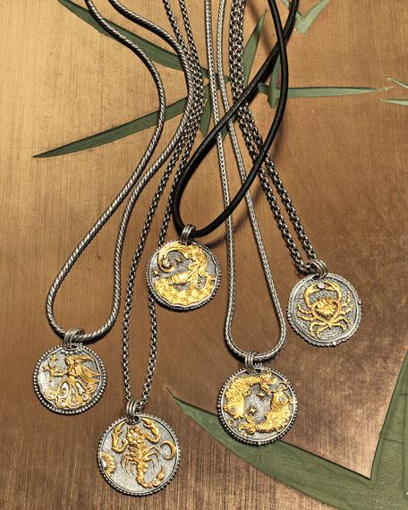 Aquarius Carved Zodiac Pendant with Diamond