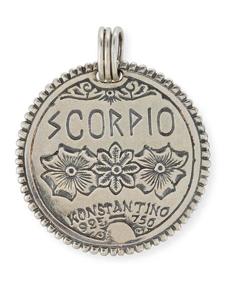 Scorpio Carved Zodiac Pendant with Diamonds