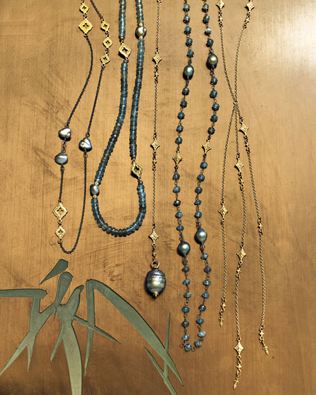 """Old World Scroll Keshi Pearl Necklace, 36"""""""