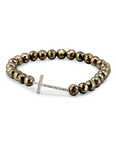 Sydney Evan Faceted Champagne Pyrite Bead Bracelet with
