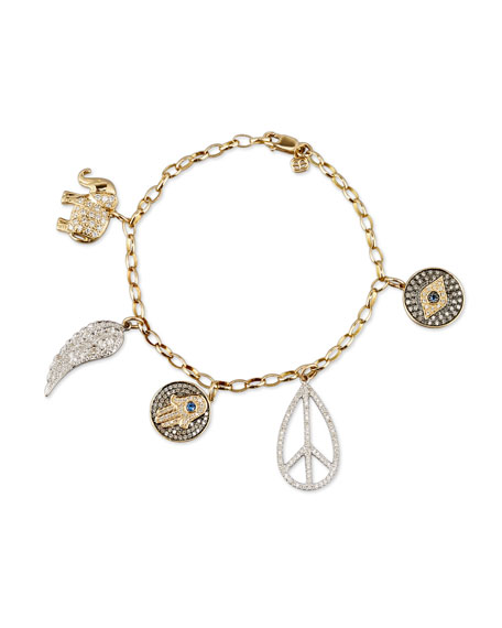 Sydney Evan 14K Gold Multi Charm Bracelet with