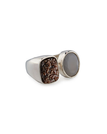 Stephen Dweck Carved Mother-of-Pearl & Moonstone Ring, Gray