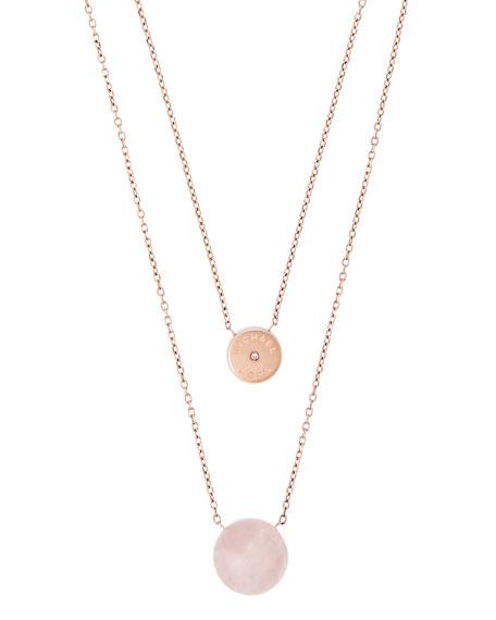 Rose Quartz Double-Chain Necklace