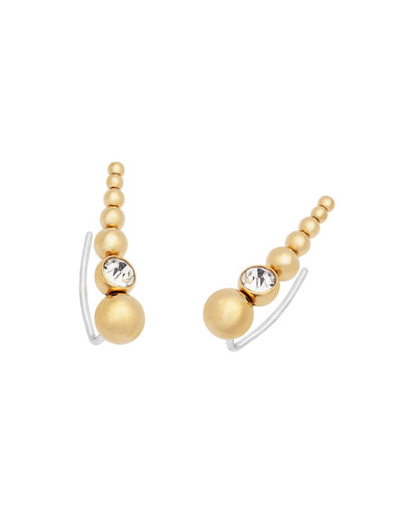 Golden Crystal Stud Crawler Earrings