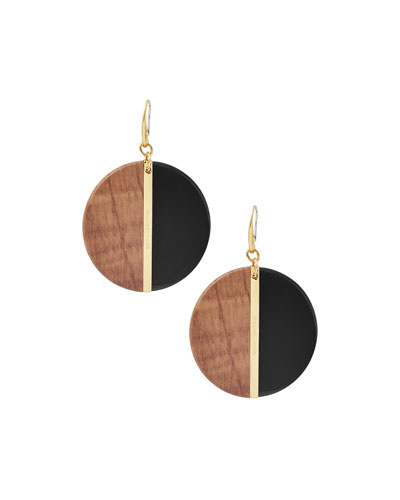 Wooden Disc Drop Earrings, Black/Golden