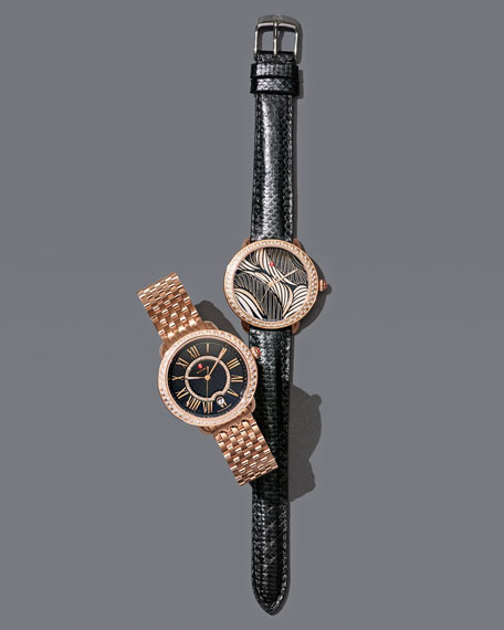 16mm Serein Watch Head with Diamonds, Black/Rose Gold