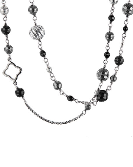 David Yurman Dy Elements Chain Necklace With Black Onyx & Hematine