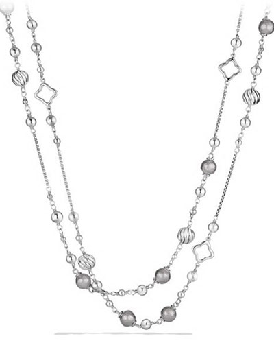 Sterling Silver Beaded Station Necklace, 48