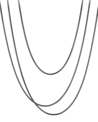 Long Darkened Sterling Silver Box Chain, 72