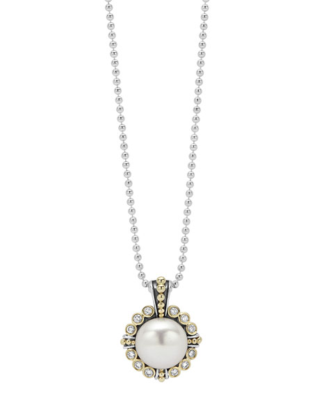 Lagos Luna 10mm Pearl & Diamond Pendant Necklace
