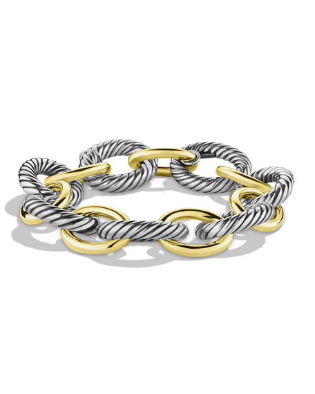 XL Sterling Silver & 14K Gold Bracelet
