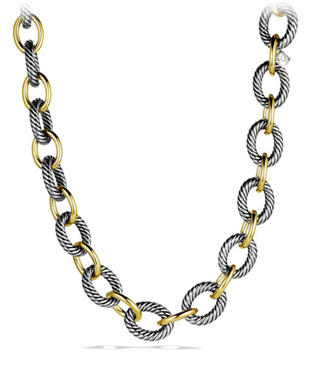 XL Sterling Silver & 18K Gold Link Necklace, 17""