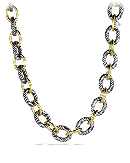XL Sterling Silver & 18K Gold Link Necklace, 18.5""