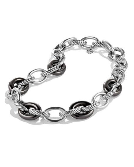 "XL Sterling Silver & 18K Gold Link Necklace, 17.5"""