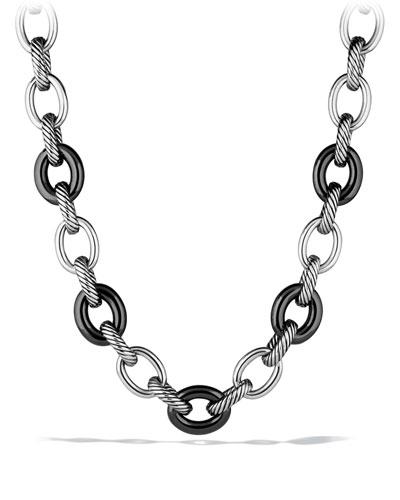 XL Sterling Silver & 18K Gold Link Necklace, 17.5