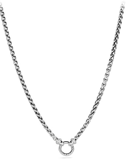 WHEAT CHAIN NECKLACE WITH DIAMONDS, 17