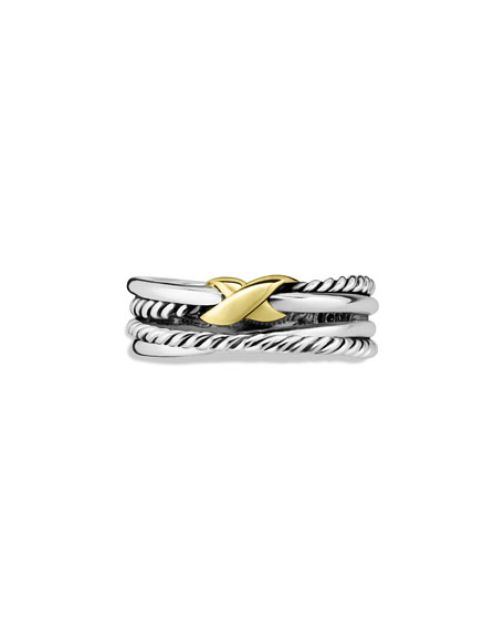 Sterling Silver & 18K Gold X Crossover Ring