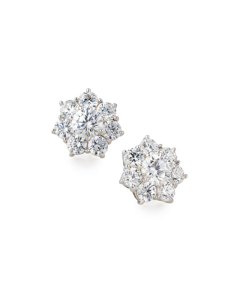 Fantasia by DeSerio Flower CZ Crystal Stud Earrings