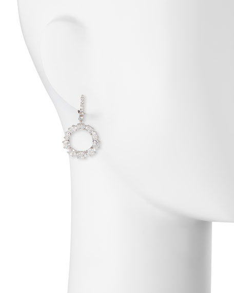 Open Circle CZ Crystal Drop Earrings