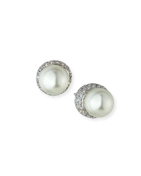 Fantasia by DeSerio 9mm Pave Pearly Stud Earrings