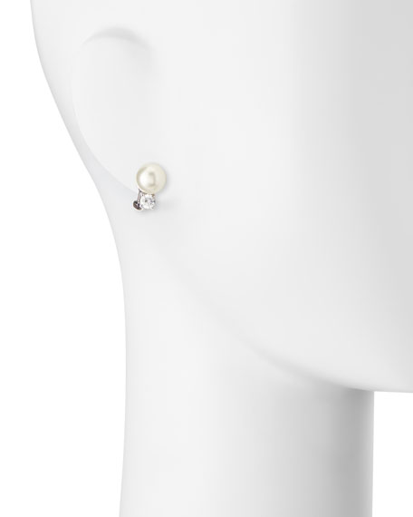 10mm Pearly Bead & Crystal Stud Earrings