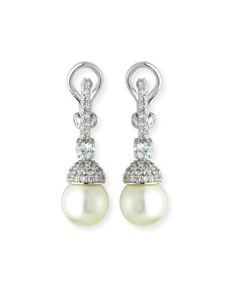 Fantasia by DeSerio Pavé Capped Pearly Drop Earrings