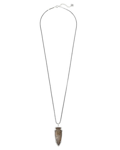 Kimmy Arrowhead Pendant Necklace, Gray