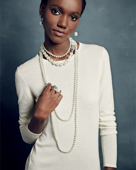 """8mm Simulated Pearl Necklace with Moveable Clasp, 35"""""""