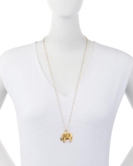 "Oversize Elephant Talisman Necklace, 32"""