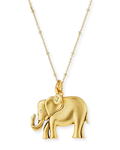 Oversize Elephant Talisman Necklace, 32