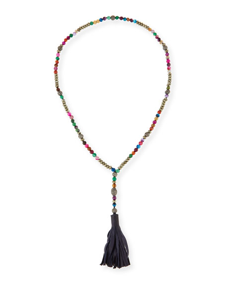 Salma Beaded Leather Tassel Necklace, Multi