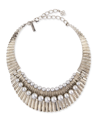 Bold Pearly Collar Necklace