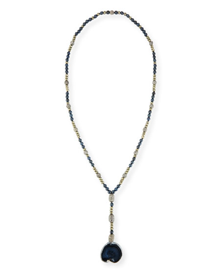 Emerson Long Beaded Agate Necklace, Navy