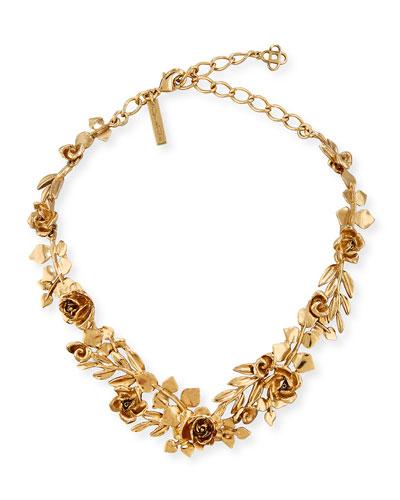 Golden Rose & Leaf Vine Necklace