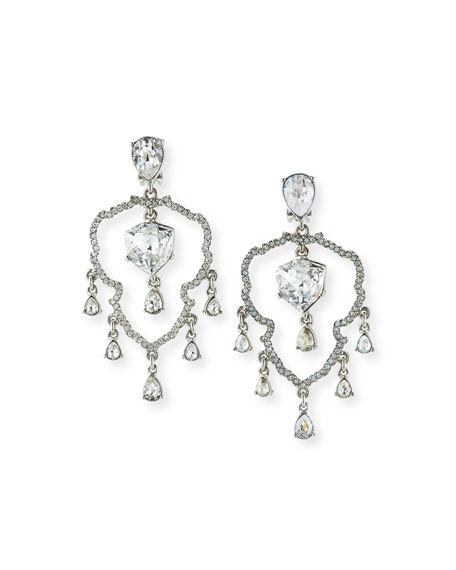 Oscar de la Renta Crystal Shield Drop Earrings