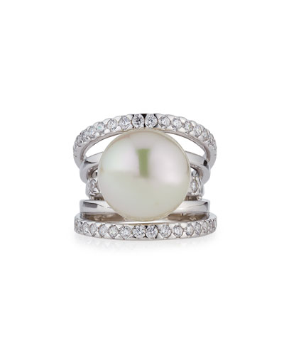 Pavé Split-Shank Simulated Pearl Ring, Size 7