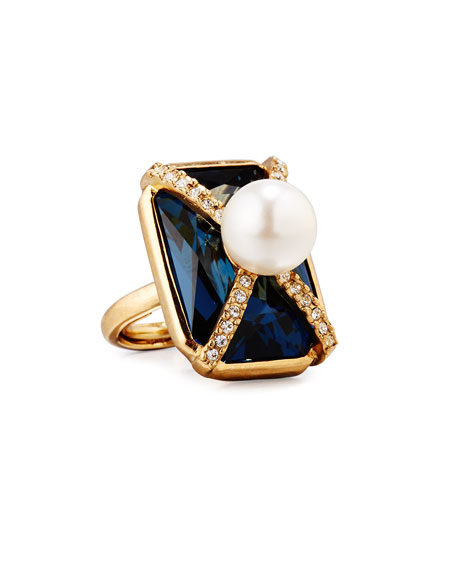 Pearly Crystal Octagon Statement Ring, Dark Blue