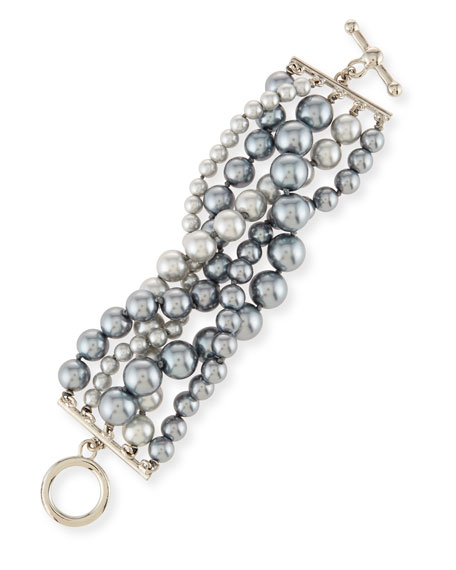 Kenneth Jay Lane Pearly Five-Row Bracelet, Gray