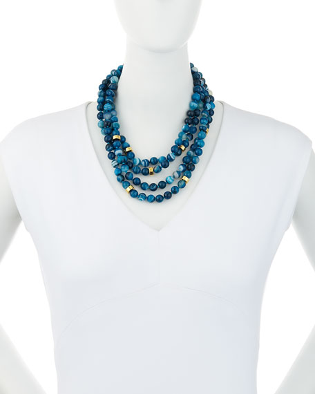 Multi-Strand Beaded Teal Agate Necklace