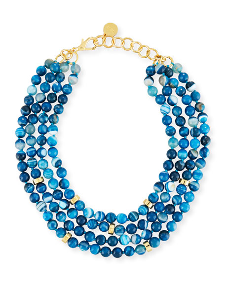 Nest Multi-Strand Beaded Teal Agate Necklace