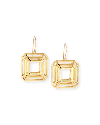 Princess-Cut Cage Drop Earrings