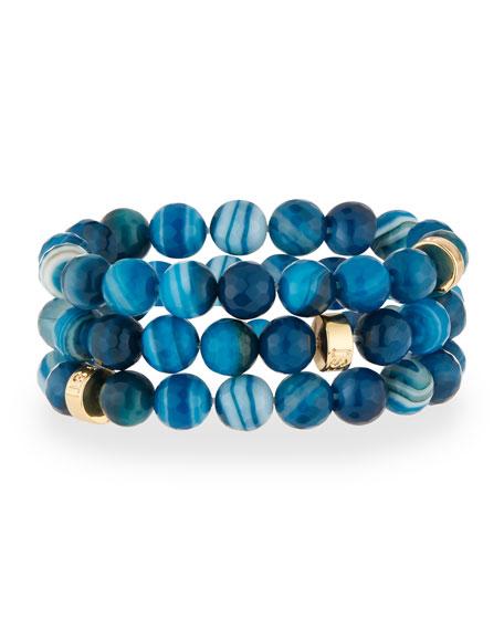 Teal Agate Stretch Bracelets, Set of 3