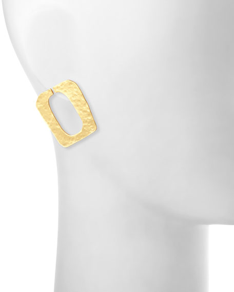 Structure Hammered Earrings, Gold