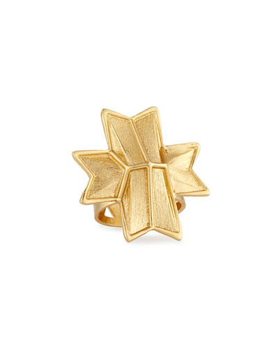 Vivid Carved Ribbon Ring, Gold