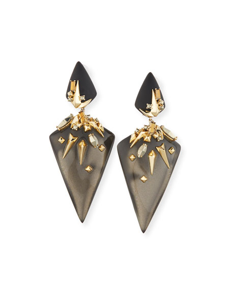 Alexis Bittar Golden Studded Dangling Clip-On Earrings