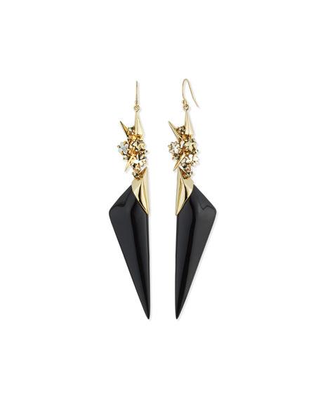 Enamel Spike Drop Earrings, Black
