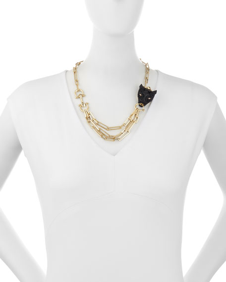 Crystal Panther Multi-Strand Necklace