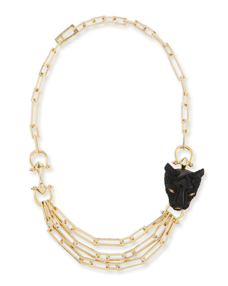 Alexis Bittar Crystal Panther Multi-Strand Necklace